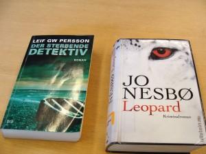 Bogforsider: Leif G. W. Persson og Jo Nesbø på tysk